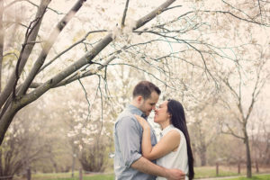 Couple spring blossom portrait