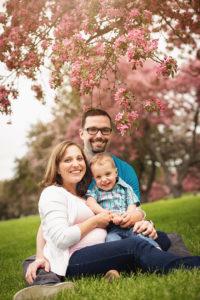 Family spring blossom portrait