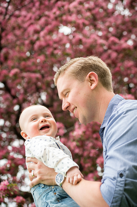 Baby and Dad spring blossom portrait