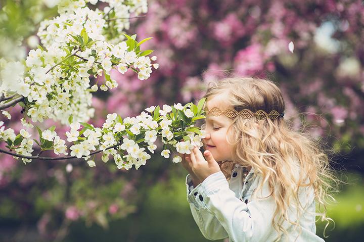 Children spring blossom portrait
