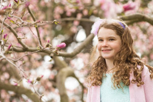 Children spring blossom portrait