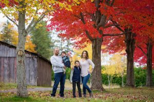 family portrait, fall trees