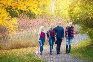 family walking, fall portrait
